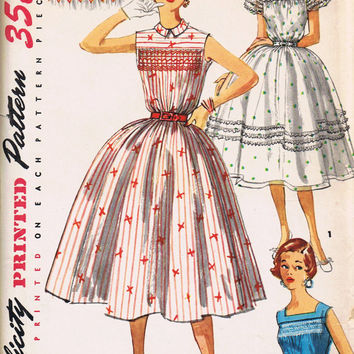 1950s Rockabilly Dress, Vintage Sewing Pattern, Simplicity 1047, Uncut Factory Folded