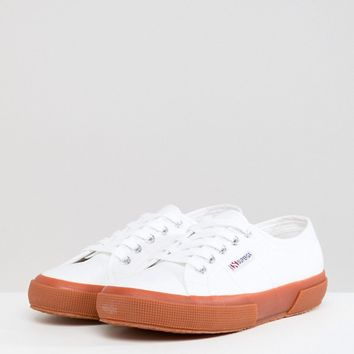 Superga 2750 Classic Canvas Trainers In White With Gum Sole at asos.com