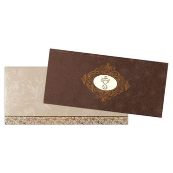 Matte Brown and Shimmering Silver Invitation Card-KNK4082
