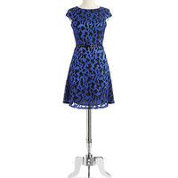 Anne Klein Petite Cap Sleeved Shadow Dress With Belt