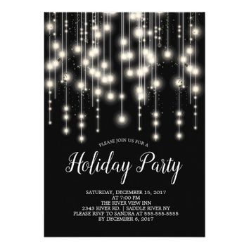 Elegant String Lights Holiday Party Invitation
