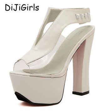 platform pumps sexy high heels ankle strap chunky sandals women shoes ladies 2017 shoe