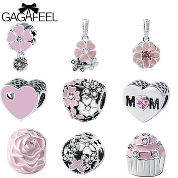GAGAFEEL Pink Beads Fit For Pandora Bracelet DIY Bead Charm Unique Flower Loose Ball Round Necklaces Chain For Jewelry Making