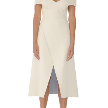 Modern marilyn off shoulder wrap dress buttermilk