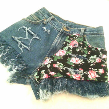 Denim shorts floral shredded MADE TO ORDER