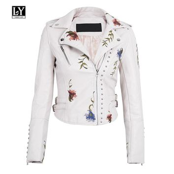 Ly Varey Lin Faux Soft Leather Jacket Women Embroidery Floral Faux Leather Jacket Pu Motorcycle Epaulet Zipper Punk Outerwear