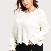 Scalloped Raw Cut Hem Jumper -SheIn(Sheinside)