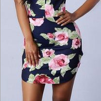 Floral Print Strappy Party Cocktail Dress