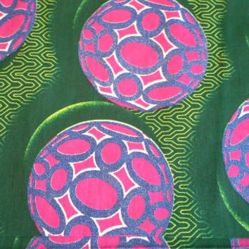 African Wax Print Fabric by the HALF YARD.  Green, Pink and Purple--Orbs with Glitter Texture
