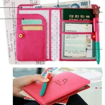 KOREA Travel PassPort Card Ticket Notes Holder Case Wallet Pouch