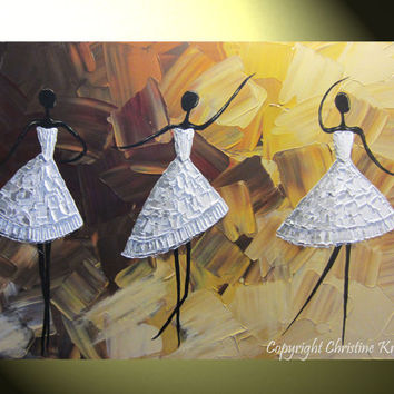 """CUSTOM  Original Abstract Dance Painting White Dress Ballet Dancers Textured Palette Knife Music Brown Gold MADE to ORDER 36x24"""" - Christine"""