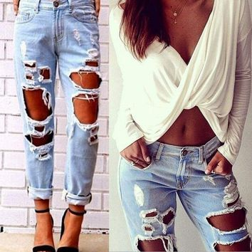 Women Destroyed Hole Ripped Distressed Jeans Slim Boyfriend Denim Pants Trousers