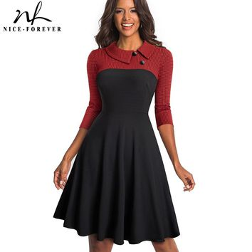 Nice-forever Women Vintage Turn-Down Collar Pinup Button vestidos A-Line Business Party Flare Swing Female Dress A121
