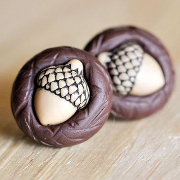 Teeny Tiny Acorn Post Earrings in Chocolate Brown by CreaShines