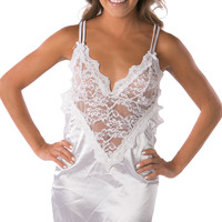 White lace v neck sexy nightwear