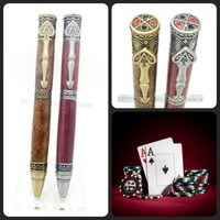 Handcrafted Pewter Wild Card Pen featuring Purpleheart, Poker pen with exotic wood, hand turned wooden pen, Ace of Spades Twist pen, WSOP