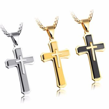 FATE LOVE Brand Statement Cross Necklaces & Pendants for Men Male Punk Stainless Steel Chain Fashion jewelry silver color golden