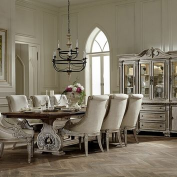 7 pc Orleans collection white washed finish wood double pedestal dining table set with wreath accented ornate carvings