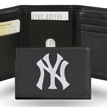 MLB New York Yankees Trifold Leather Wallet FREE SHIPPING!