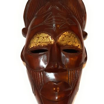 "16"" African Wood Mask: Brown"