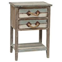 Crestview Collection Nantucket 2 Drawer Weathered Wood Accent Table