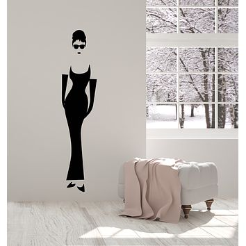 Vinyl Wall Decal Retro Woman Silhouette Lady In Sunglasses Stickers (3265ig)