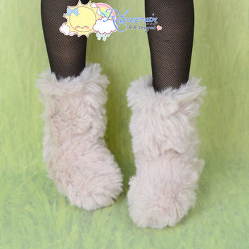 Doll Shoes Fluffy Furry Fuzzy Faux Fur Boots Shaggy Ivory Cream for SD Girl DD Size Dollfie BJD Ball Jointed Dolls