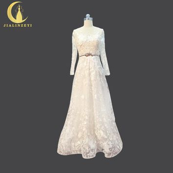 JIALINZEYI Real Picture Long Sleeves Lace with Beads A-line Floor Length Wedding Dresses long train arabic wedding dress 2017