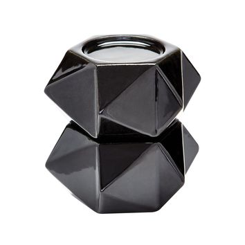 Large Ceramic Star Candle Holders In Black - Set of 2 Black