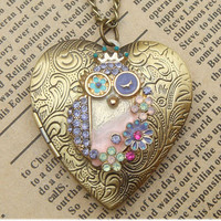 Steampunk Owl Locket Necklace Vintage Style Original Design