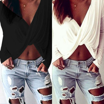 Womens Deep V-neck Casual Cross Twisted Crop Top Long Sleeve Blouse Tee Clubwear