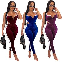 Women Sexy Two Piece Velvet Tank Bodysuit Pant Set
