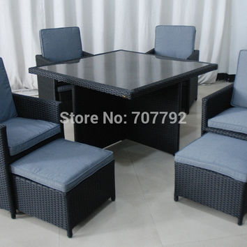 NEW!New Tuscany 4 Seater Outdoor rattan dining set Garden Set Black