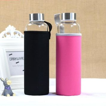 Glass Sport Fitness Water Bottle with Protective Casing
