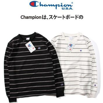 PEAPV9O Champion Women Men Stripe Fashion Pullover Tops Sweater Hoodie G