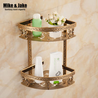 Bathroom shelf antique aluminum double layer bathroom corner shelf bathroom holder showeroom basket bathroom accessories MH8509