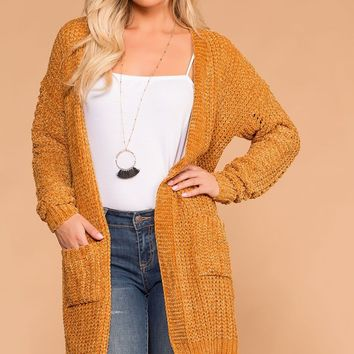 Melody Mustard Chenille Knit Pocket Cardigan
