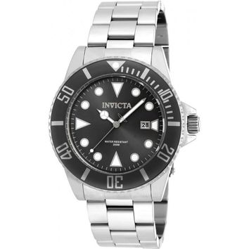 Invicta Men's 90194 Pro Diver Quartz 3 Hand Black Dial Watch