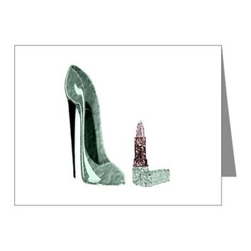 GREEN STILETTO SHOE AND LIPST NOTE CARDS (PK OF 20