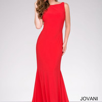 Jovani High Neck Fitted Dress- Red