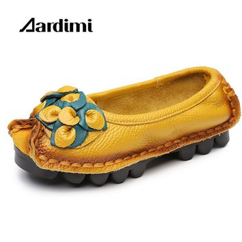 Handmade Women Genuine Leather Shoes Women Flats Shoes 5 Colors Vintage Ballet Flats Shoes Woman Zapatos Mujer boat shoes mujer
