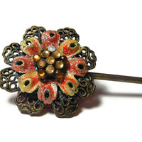 Victorian revival hair pin stick, bronze filigree, pinkish red enamel petals with glitter, center taupe acrylic rhinestones, floral hair pin