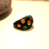 Vintage 1960s Acrylic  Polka Dot Hand Painted Ring Size 8