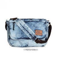 Distressed fading denim messenger bags from Vintage rugged canvas bags