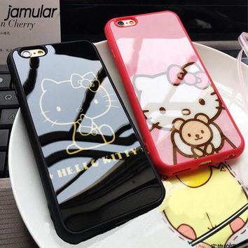 JAMULAR Cute Cartoon Hello Kitty Silicone Case For iphone 7 8 6 6s Plus 5 5s SE Mirror Back Cover for iphone 6 6s 8 Plus Coque