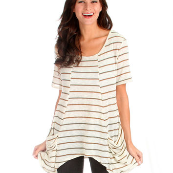 TAUPEOLIVE TAKE IT BREEZY SCOOP NECK TUNIC TOP WITH POCKETS