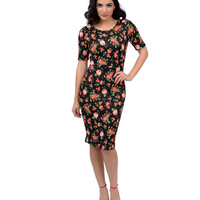 Black & Pink Floral Quilted Cutout Wiggle Dress