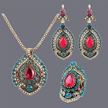 Fashion Indian Jewelry  Waterdrop Red  Crystal Rhinestone Necklace Earring Rings Antique Style Gold Plated for Ladies Gifts Set
