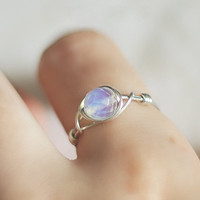 Opalite Moonstone Ring - unique ring - cute ring - bohemian jewelry