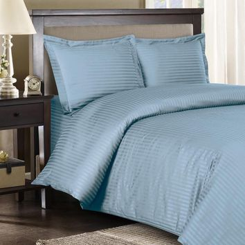 Stripe Blue Down Alternative Bed in A Bag 100% Combed cotton 600 Thread count
